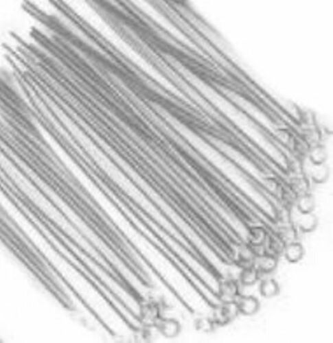 "0.7mm abalorios-Craft hallazgos 500 Chapado en Plata Joyería Eye Pins 25mm 1/"""