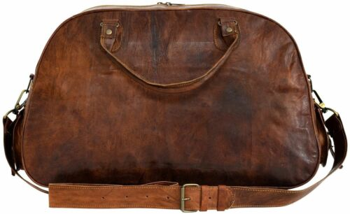 Men/'s Brown Genuine Goat Leather 40cm Travel Luggage Duffle Gym Overnight Bag