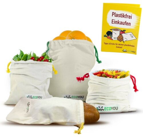 EcoYou Gemüsebeutel BIO-Baumwolle 4er Set Nachhaltige Brotbeutel /& Obstbeutel