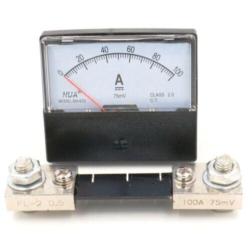 Analog AMP Panneau Mètre Courant Ampèremètre DH-670 DC 100 A 75 mV avec shunt Classe 2.0