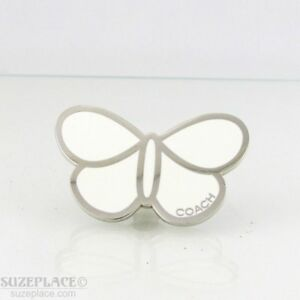 NWT-AUTHENTIC-COACH-WHITE-BUTTERFLY-TIE-TACK-EUC