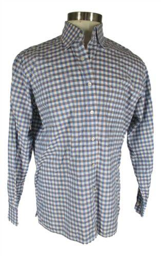 Canali 1934 Mens Blue Grey Check Long Sleeve Cotto