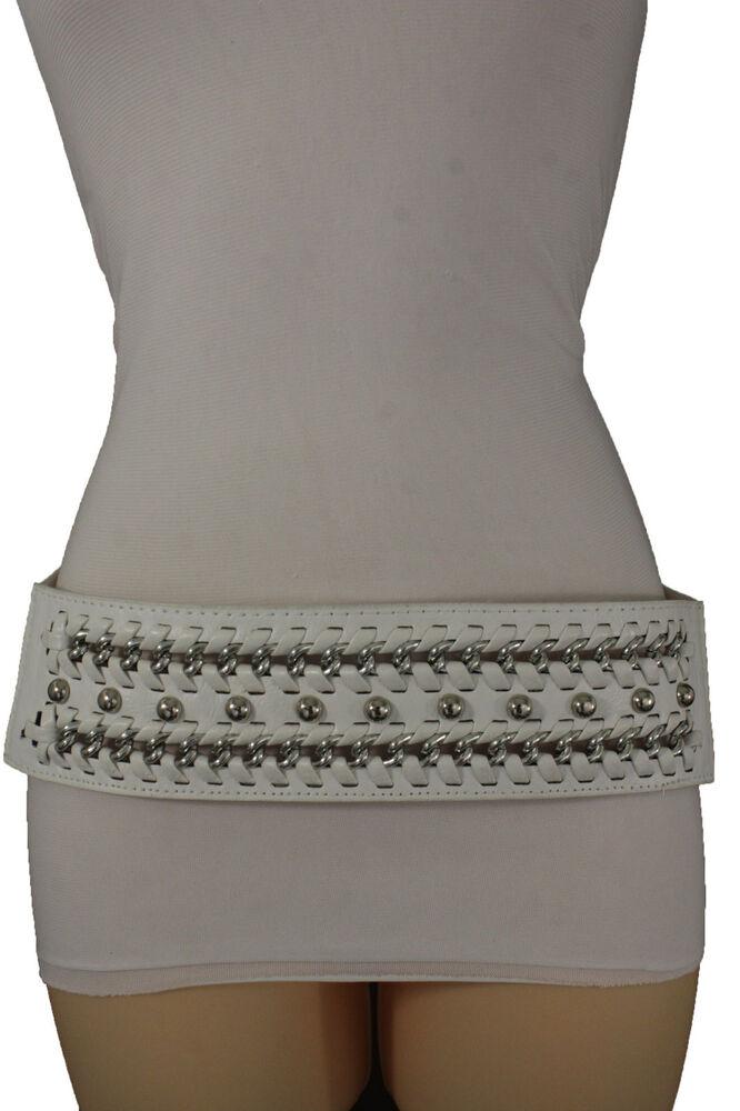 2019 DernièRe Conception Nouveau Femme Blanc Simili Cuir Hanche Taille Ceinture Mode Argent Métal Chaînes Texture Nette