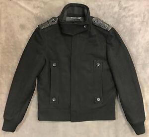 NEW CLASS ROBERTO CAVALLI BLACK WOOL BLEND BOMBER JACKET SZ US 38 ... fd16d2bd37e