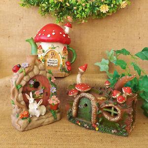 Secret-Garden-Log-Cottage-Teapot-Miniature-Fairy-Flower-House-Solar-Light-Up
