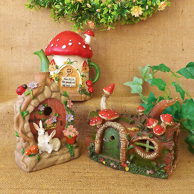 Miniature Dollhouse FAIRY GARDEN ~ Light Up Half Open Flower Cottage Door