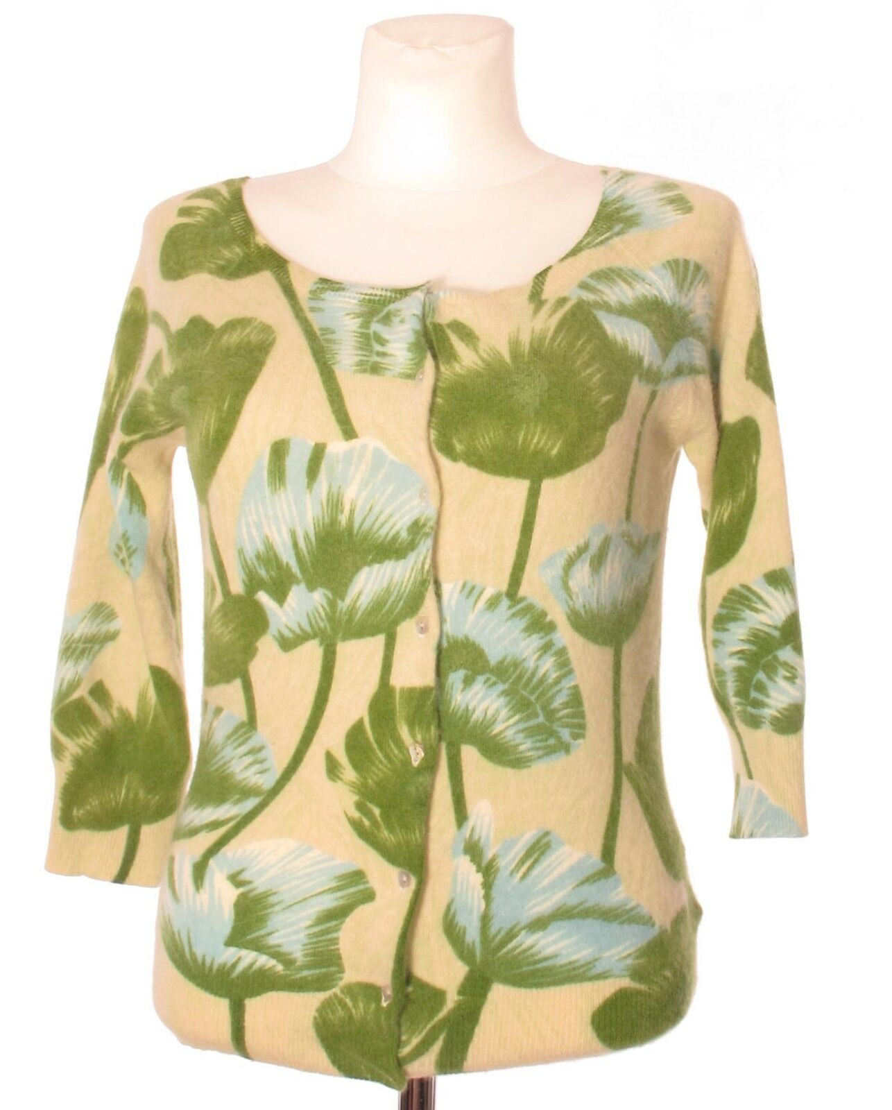 KING LOUIE Women's Angora Lambswool Wool Green Floral Floral Floral 3 4 Sleeve Cardigan M 2d0879