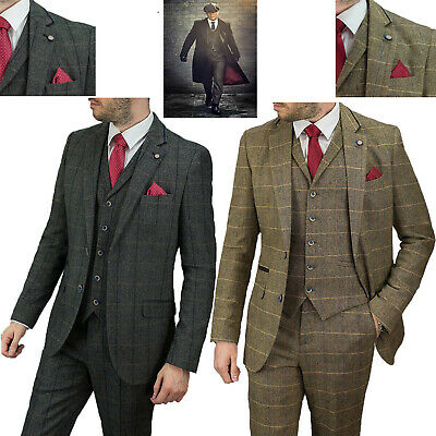 factory online shop search for latest Mens Tweed Wedding 3 Piece Suit Peaky Blinders Tailored Fit Short Regular  Long | eBay