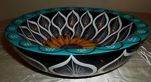 Stunning Painted Lacquered Wooden Bowl Sunflower Peacock Feathers Turquoise
