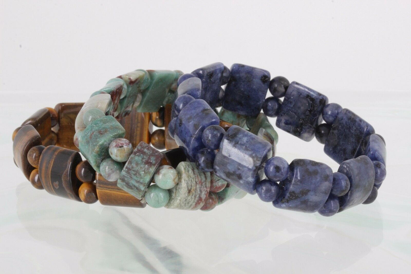COSTUME SET OF THREE BRACELETS blueE, GREEN & BROWN STONES FASHION 4617