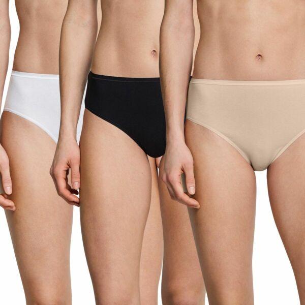 Schiesser Damen Slips, 3er Vorteilspackung, Unterhosen, Neu schwarz, weiss, nude