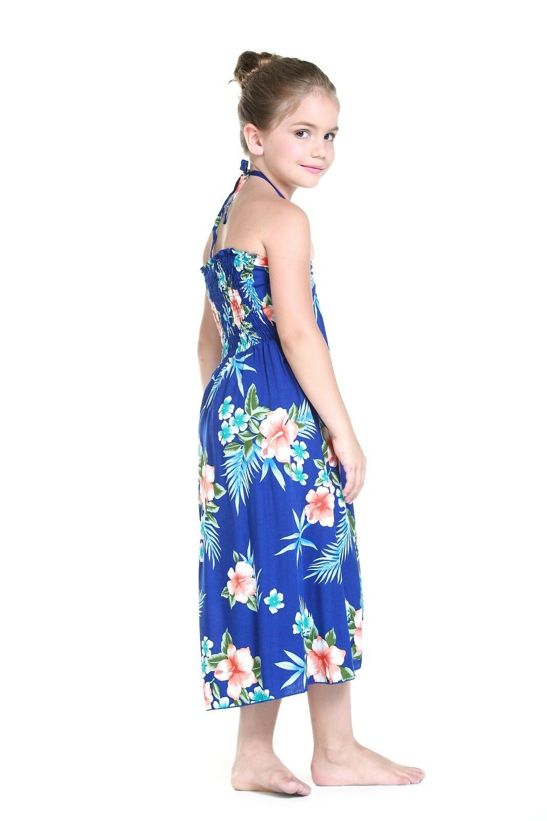 6ebce10d4bb8 Girl Hawaiian Butterfly Dress in Hibiscus Blue 6 for sale online | eBay