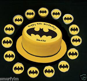 Batman Cake Decorations Uk : Batman Logo Birthday CUPCAKES OR CAKE 7.5