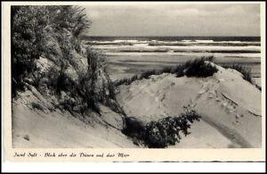 Sylt-Insel-Schleswig-Holstein-AK-um-1950-Blick-ueber-die-Duenen-auf-das-Meer