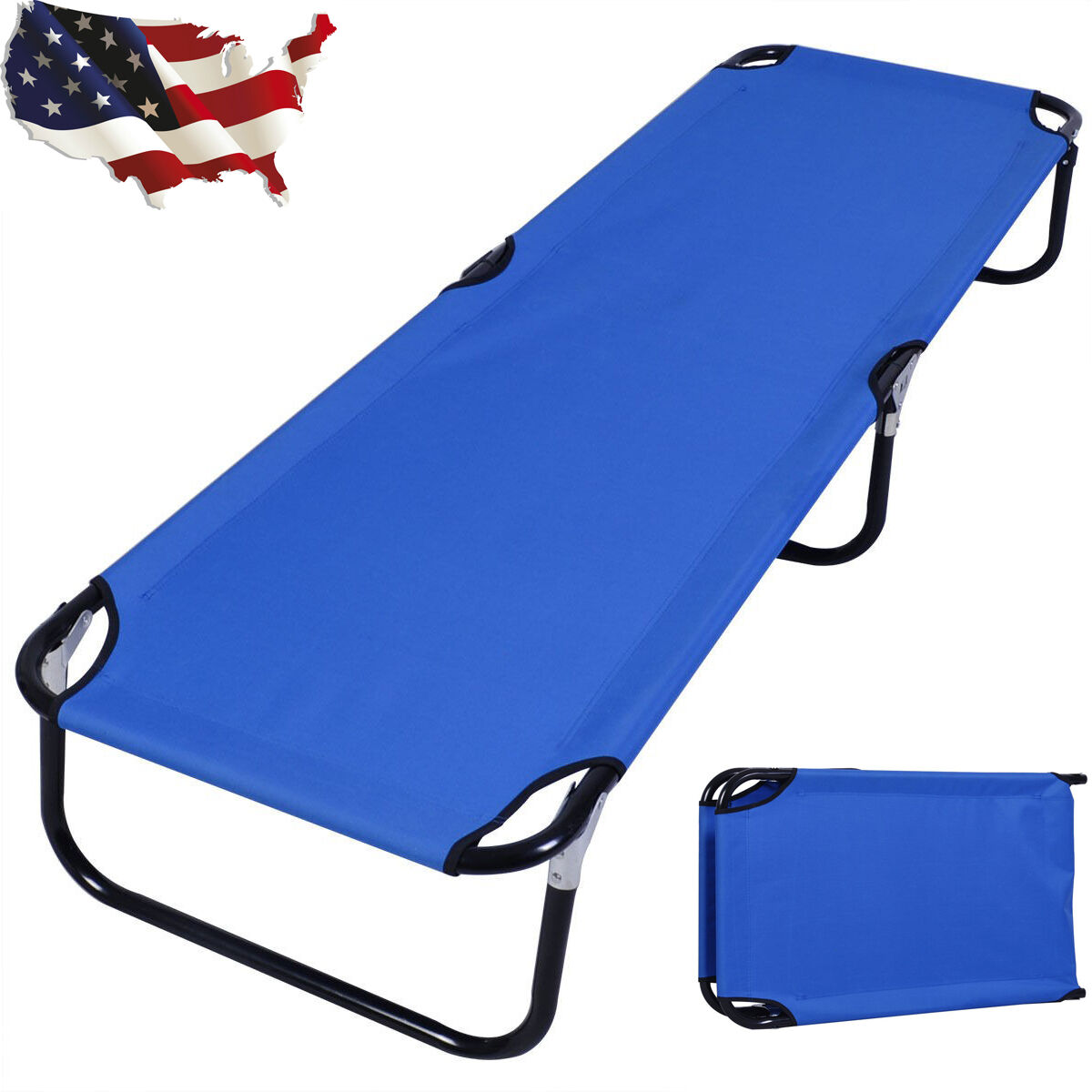 Portable Folding Camping  Bed Outdoor Military Cot Sleeping Hiking Travel bluee US  store sale outlet