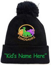 Three Dinosaurs Black Pom Pom Beanie Hat with Kid's Free Name