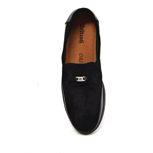 British Collection Canterbury Men/'s Slip On Black Leather Suede Shoes 1216-01