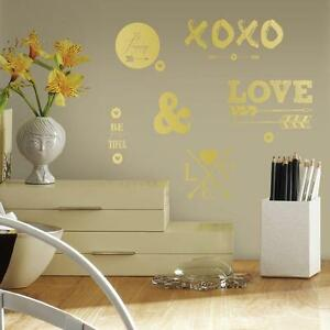 Gold Hearts Xoxo 21 Wall Decals Arrows Love Room Decor