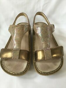 Alegria-Gold-Kendra-Leather-Sandals-Size-38-8-8-5-Great-Condition