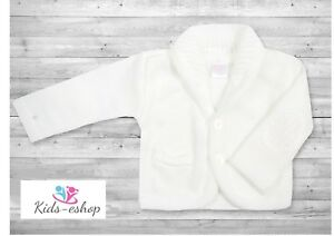 7251ac63116c Baby Boy White Knitted Cardigan Christening Wedding Party Occasion