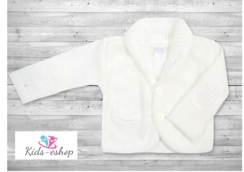 Baby Boy White Knitted Cardigan Christening Wedding Party Occasion