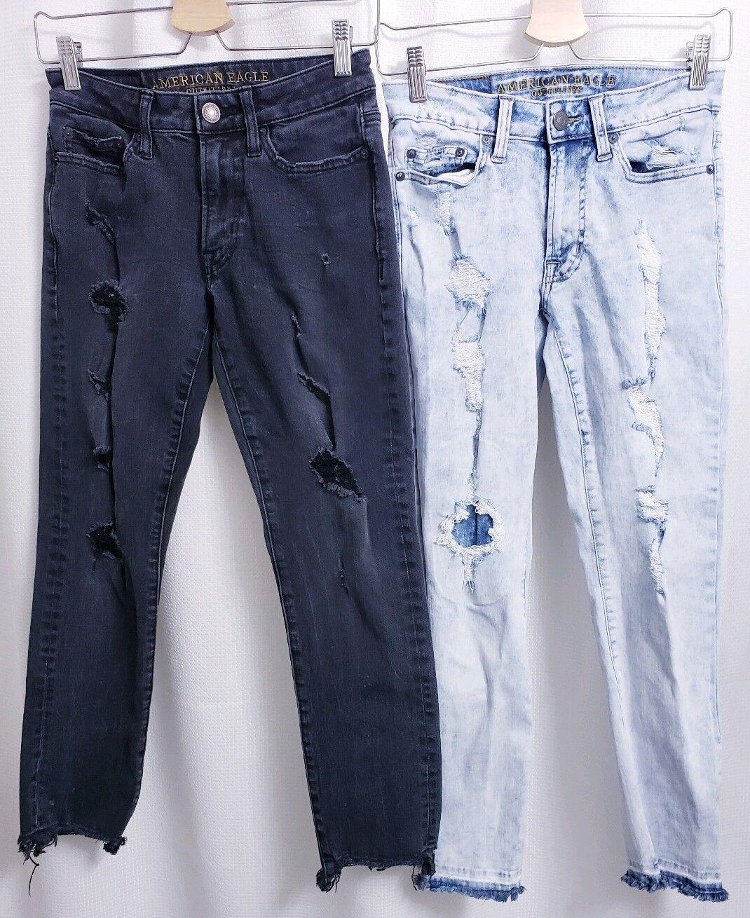 Lot of 2 American Eagle Slim Extreme Flex Destroyed Jeans sz 26x28 Men's Raw Hem