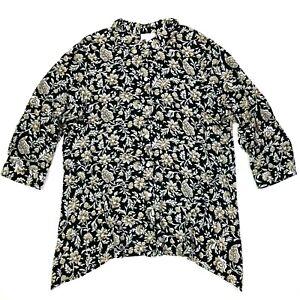 j.jill 3/4 sleeve floral asymmetrical button up shirt black white size medium