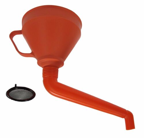 """6/"""" Red Angled Funnel with Detachable Spout Mesh Screen Strainer Gasoline Diesel"""