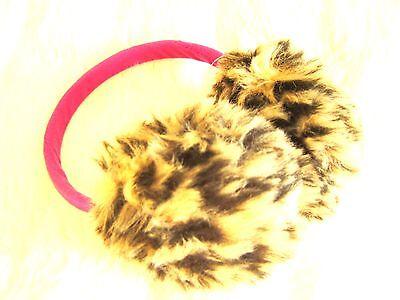 Umile 3 - 7 Anni Bambine Carino Morbido E Leopardo Fun Fur Rosa Paraorecchie Warmers-