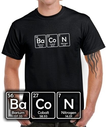 chimie tableau périodique I LOVE viande Bacon saucisses gras Bacon Fun t-shirt