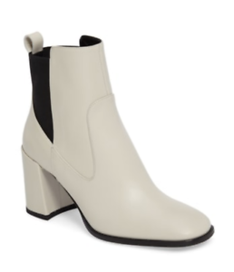 Via Spiga Bone Color Ankle Boots Delaney Chelsea Chunky Heel Booties Shoe 8.5