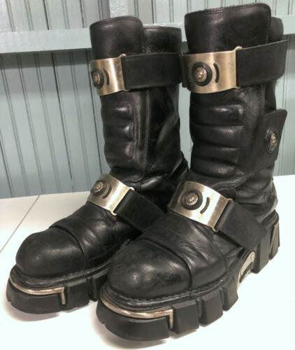 New Rock Mens Black Leather Rare Style Size 12 Boo