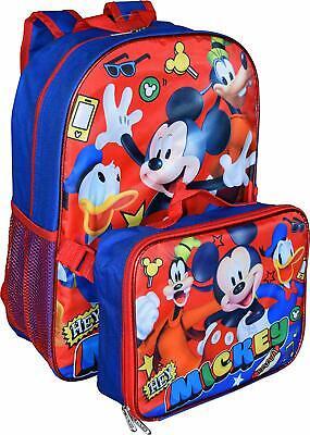 "Lunch Bag Set Blue Disney Mickey Mouse 16/"" Backpack School Book Bag Kids Boys"