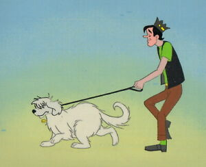 ARCHIES-Prod-Cel-Filmation-1968-70-039-s-Jughead-and-Hot-Dog-on-a-stroll
