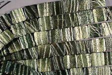 "BRAZILIAN GREEN ZEBRA SERPENTINE W/ CHRYSOTILE DOUBLE DRILL BEADS 20MM 8"" SQUARE"
