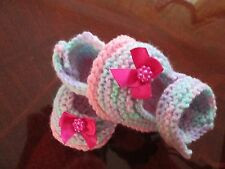 ideal gift hand knitted  baby shoes 0-3 months