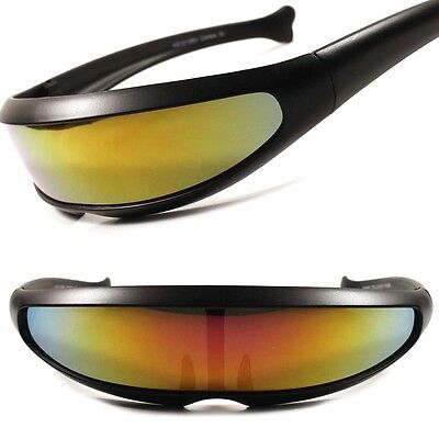 Red Yellow Mirror Lens Alien Space Costume Cyclops Futuristic Novelty Sunglasses
