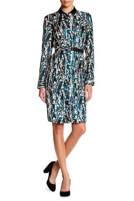NEW Boss Daweni Silk Printed Shirt Dress in bluee Multi - Size 8