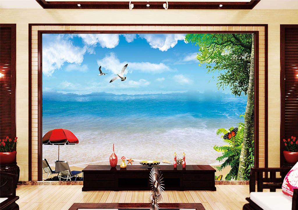 Sky, Clouds, Beach 3D Full Wall Mural Photo Wallpaper Printing Home Kids Decor