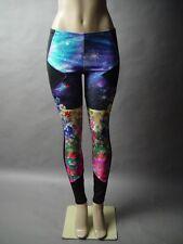 Cosmic Space Galaxy Floral Garden Landscape Graphic Photo Print Legging Pant L