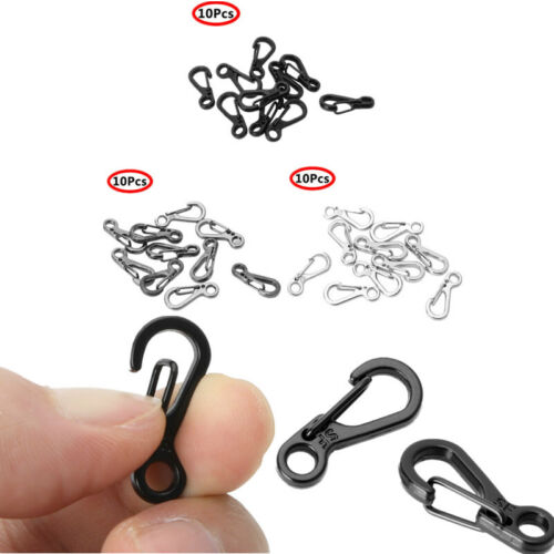 10x Metal Carabiner Clips Tiny Hooks Spring Clasps Keychain for Paracord Bags HQ