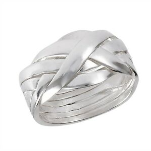 Braided-Sterling-Silver-6-Piece-Puzzle-Ring-Size-6-12