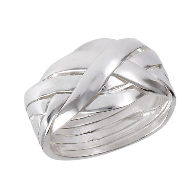 Braided Sterling Silver 6 Piece Puzzle Ring Size 6-12