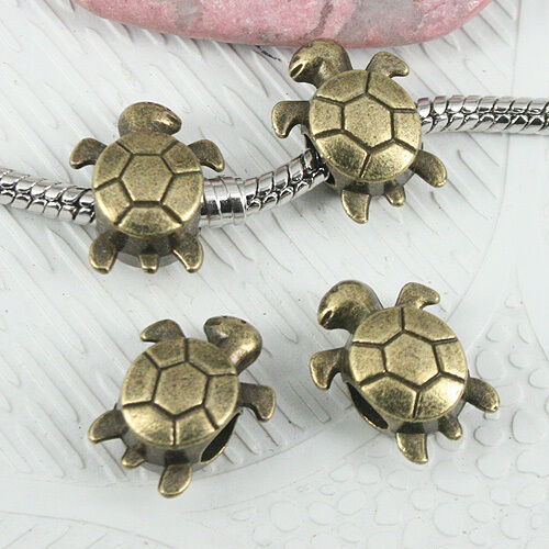 8pcs Antique Bronze Tone 2 faces Turtle Design Loose Bead EF0885