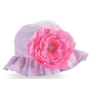 545d8620 New Mud Pie Pink & Purple Reversible Seersucker Sun Hat with Flower ...