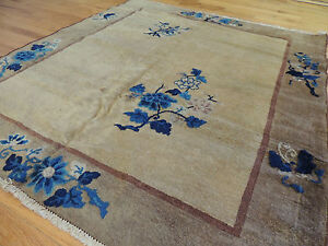 Antique Art Deco Chinese Square Oriental Area Rug 4x4 Wool