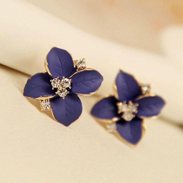 Elegant Sweet Blue Flower Lady Charm Girls Wedding Party Earrings Jewelry