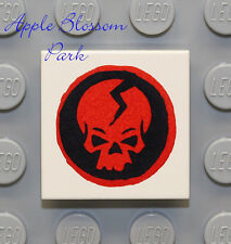 NEW Lego RED BLACK SKULL 2x2 Printed TILE - White w/Ninjago Ninja Skeleton Head