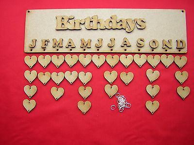 4 anniversaire calendrier plaques 36cm x 10cm//360mm x 100mm-laser cut mdf