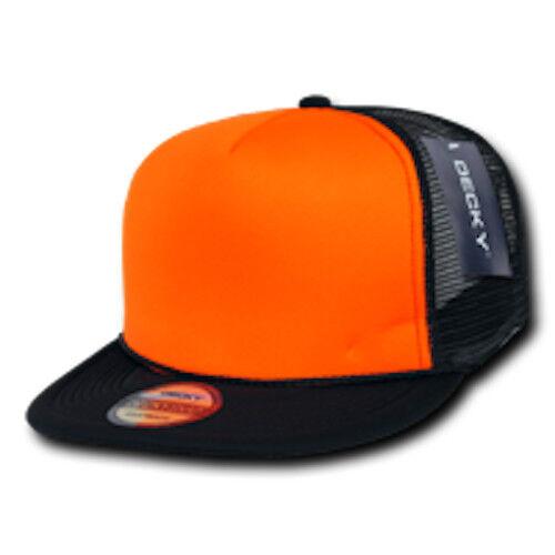 15 Lot Decky Bill Neon Mesh Foam Flat Bill Decky Trucker Hats Caps Two Tone Wholesale Bulk e963f8